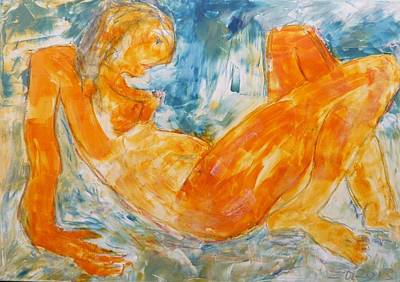 Yellow Nude 2  Art Print