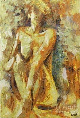 Yellow Nude Art Print by Dragica  Micki Fortuna