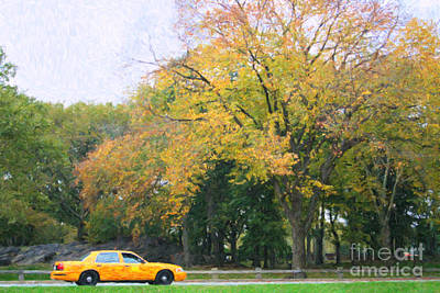 Digital Art - Yellow Nyc Taxi Driving Through Central Park Usa by Liz Leyden