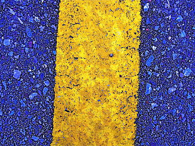 Yellow On Blue Stone Art Print