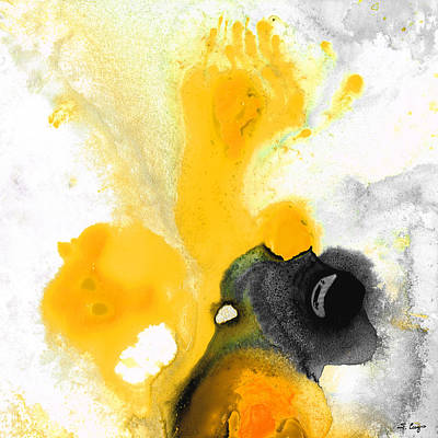 Contemporary Black Art Painting - Yellow Orange Abstract Art - The Dreamer - By Sharon Cummings by Sharon Cummings
