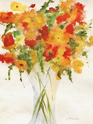 Painting - Yellow Orange Flower Vase by Jamie Frier