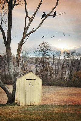 Antique Outhouse Photograph - Yellow Outhouse by Lori Deiter