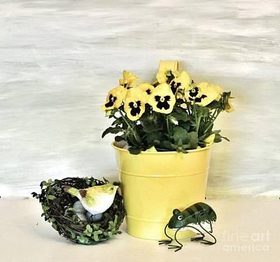 Wrap Digital Art - Yellow Pansies Bird And Frog by Marsha Heiken
