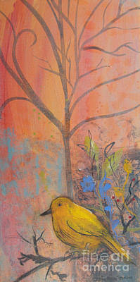 Painting - Yellow Peace Bird On Orange by Robin Maria Pedrero