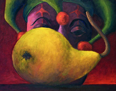 Yellow Pear And Jester Print by Marie-louise McHugh