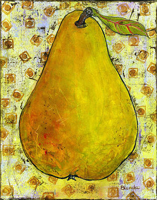 Stillife Painting - Yellow Pear On Squares by Blenda Studio