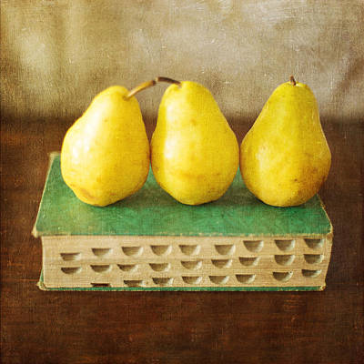 Photograph - Yellow Pears And Vintage Green Book Still Life by Renee Hong