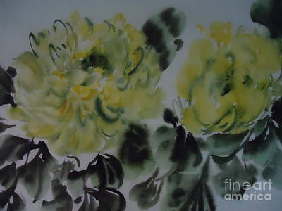 Art Print featuring the painting Yellow Peony 1-01272012 by Dongling Sun