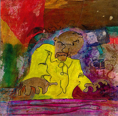 Art Print featuring the mixed media Yellow Piano Man by Catherine Redmayne