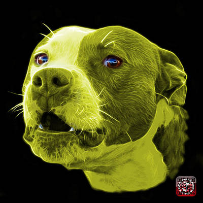 Mixed Media - Yellow Pitbull Dog 7769 - Bb - Fractal Dog Art by James Ahn