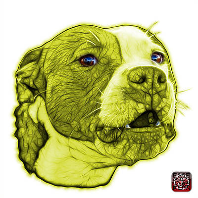Mixed Media - Yellow Pitbull Dog Art - 7769 - Wb - Fractal Dog Art by James Ahn