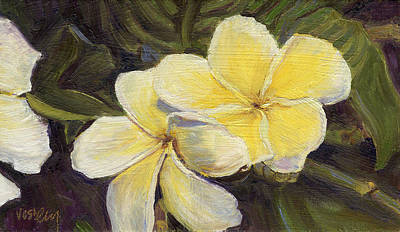 Haleiwa Painting - Yellow Plumeria Flowers by Stacy Vosberg