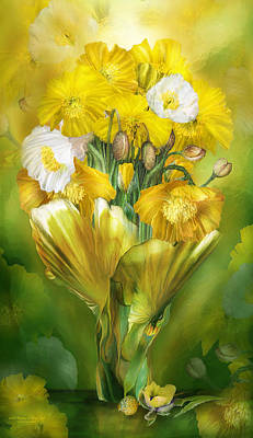 Mixed Media - Yellow Poppies In Poppy Vase by Carol Cavalaris