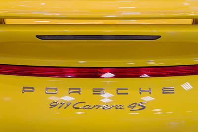 Metal Tires Photograph - yellow Porsche by Stelios Kleanthous