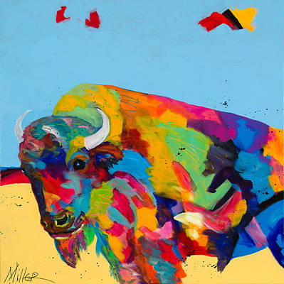 Yellow Prairie Blue Sky Print by Tracy Miller