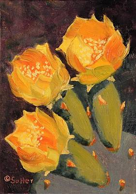 Painting - Yellow Prickly Pear Cactus by Ruth Soller