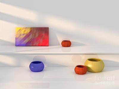 Indoor Still Life Digital Art - Yellow Red Blue Vase Still Life. by Jan Brons