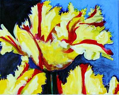 Photograph - Yellow Red Stripe Parrot Tulip by Diane montana Jansson