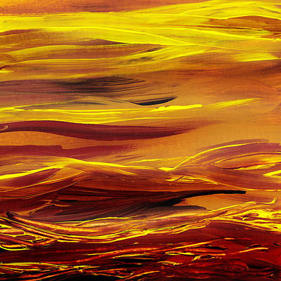 New House Painting - Yellow River Flow Abstract by Irina Sztukowski