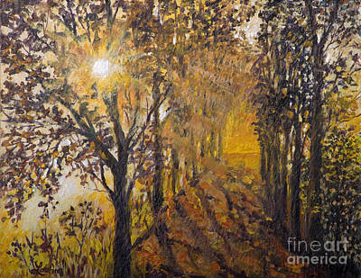 Painting - Yellow Road Sunset Shadows by Lou Ann Bagnall