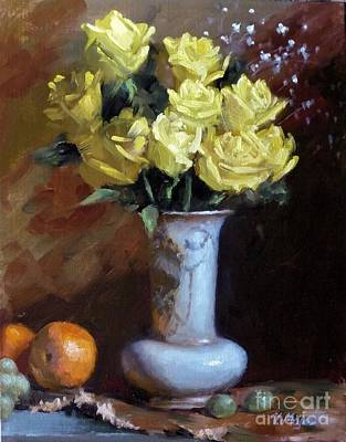 Painting - Yellow Rose Bouquet by Viktoria K Majestic