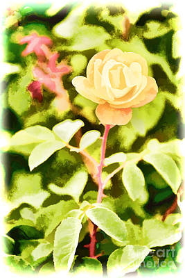 Painting - Yellow Rose Flower Painting In Color 3227.02 by M K Miller