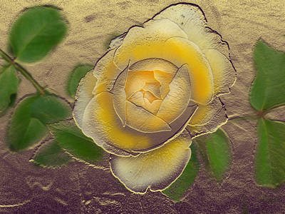 Digital Art - Yellow Rose Gold Leaf by Steve Karol