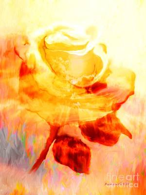 Painting - Yellow Rose Kissed By The Sun by Annie Zeno