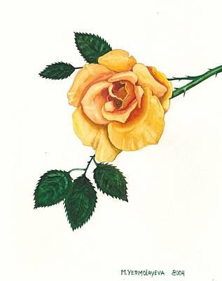 Yellow Rose Of Texas Painting - Yellow Rose by Margaryta Yermolayeva