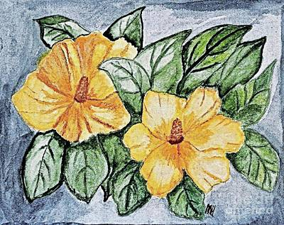 Rose Of Sharon Painting - Yellow Rose Of Sharon Painting by Marsha Heiken