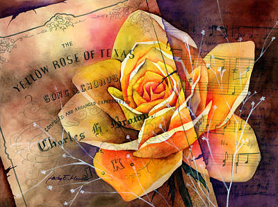 Macro Painting - Yellow Rose Of Texas by Hailey E Herrera