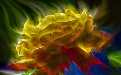 Poppies Digital Art - Yellow Rose Series - Colorful Fractal by Lilia D
