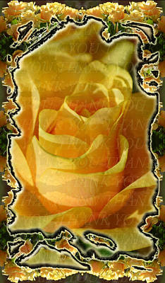 Photograph - Yellow Rose Thank You by Deprise Brescia