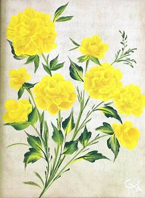 Neutral Background Painting - Yellow Roses by Carolyn Wear