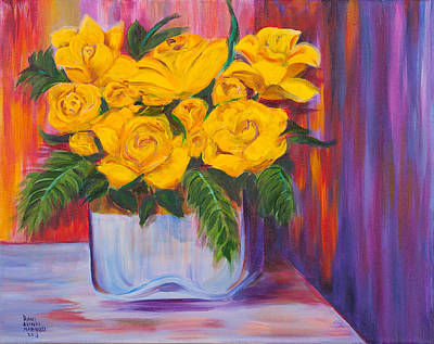Yellow Roses Art Print by Dani Altieri Marinucci