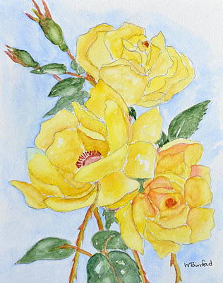 Polaroid Camera - Yellow Roses fyi print on watercolor paper by Wade Binford