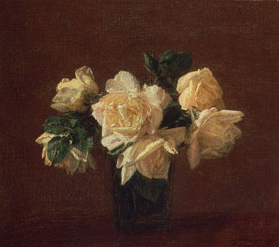 Stalk Painting - Yellow Roses by Ignace Henri Jean Fantin-Latour