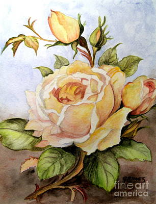 Yellow Roses In The Garden Art Print by Carol Grimes