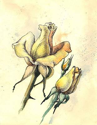 Mixed Media - Yellow Roses In Watercolor And Stippling by Alena Nikifarava
