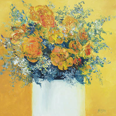 Interior Still Life Painting - Yellow Roses by Jan Matson