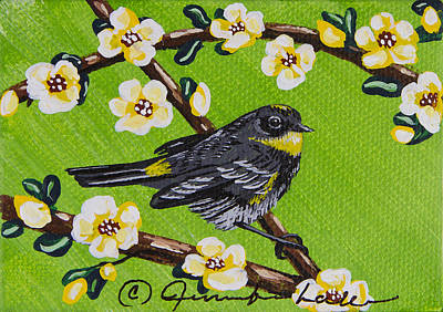 Painting - Yellow Rump Warbler Bird Mini by Jennifer Lake