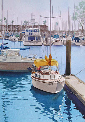 Boats Painting - Yellow Sailboat Oceanside by Mary Helmreich