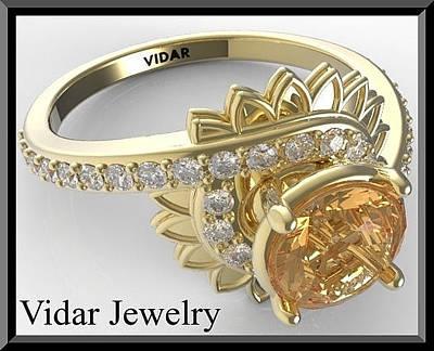 14k Jewelry - Yellow Sapphire And Diamond 14k Yellow Gold Flower Engagement Ring by Roi Avidar