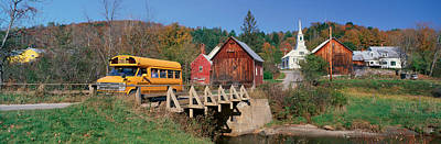 New England Village Photograph - Yellow School Bus Crossing Wooden by Panoramic Images