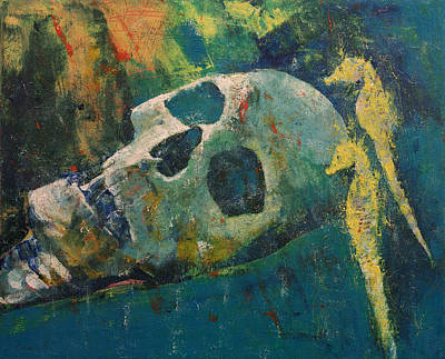 Grave Painting - Yellow Seahorses by Michael Creese