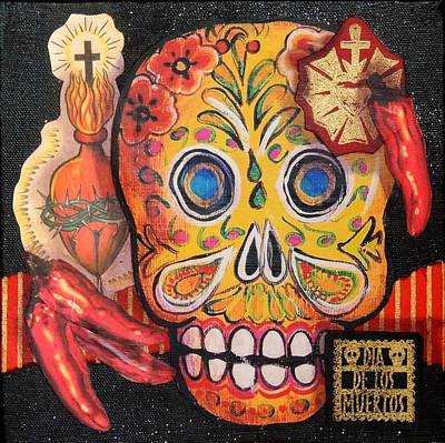 Pepper Mixed Media - Yellow Skull And Peppers by Candy Mayer