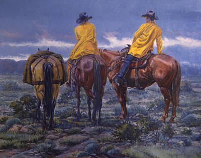 Rain Hat Painting - Yellow Slickers by Randy Follis