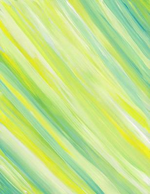 Star Burst Painting - Yellow Stripe Angle by Barbara St Jean