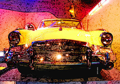Traffic Mixed Media - Yellow Studebaker Headlights by Design Turnpike